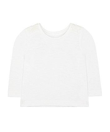 Mothercare White Crochet T-Shirt