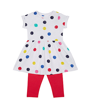Mothercare White Spot Dress And Pink Leggings Set