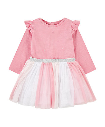 Mothercare Pink Glitter Stripe Frill Twofer Dress