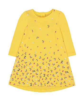 Mothercare Longsleeves Floral Dress  - Yellow