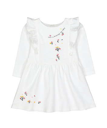 Mothercare Cream Floral Frill Sweat Dress