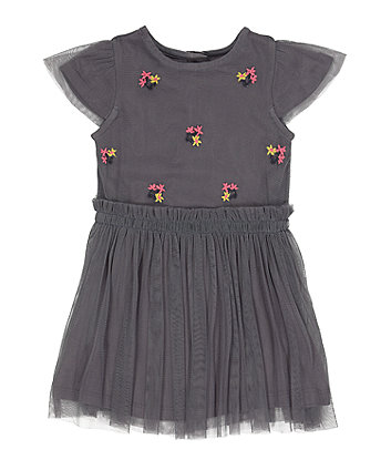 Mothercare Grey Floral Mesh Twofer Dress