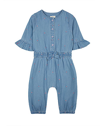 Mothercare Blue Floral Denim Jumpsuit