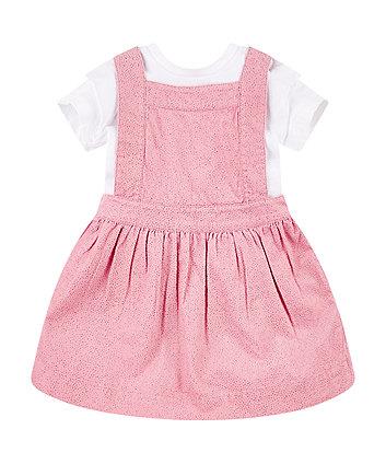 Mothercare Pink Cord Pinny Dress And T-Shirt Set