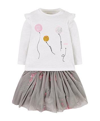Mothercare White Ballon T-Shirt And Grey Tutu Skirt Set