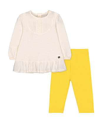 Mothercare Cream Blouse And Mustard Leggings Set