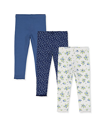 Mothercare Navy, Blue And Ditsy Floral Leggings - 3 Pack