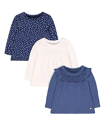 Mothercare Blue, Cream And Ditsy Floral T-Shirts - 3 Pack