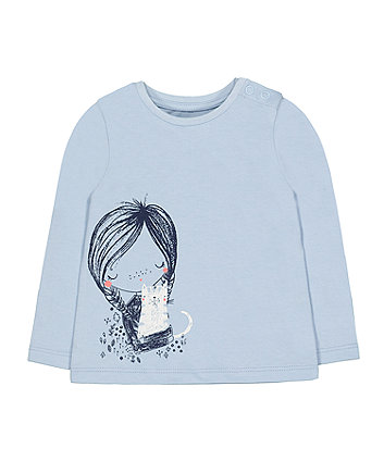 Mothercare Blue Girl And Cat T-Shirt