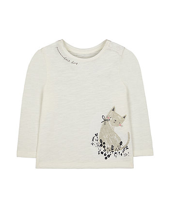 Mothercare Cream Cat T-Shirt