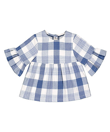 Mothercare Checked Flute Blouse - Blue