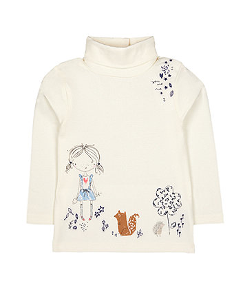 Mothercare Cream Girl And Woodland Animal Roll-Neck Jumper