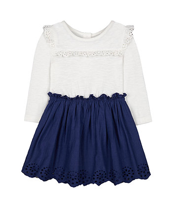 Mothercare Scallop Hem Twofer Dress - White/Navy