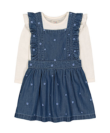 Mothercare Denim Floral Pinny And Cream Frill T-Shirt Set