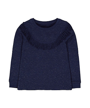 Mothercare Navy Fringed Sweat Top