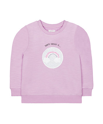 Mothercare Lilac Sequin Weather Forecast Rainbow Sweat Top
