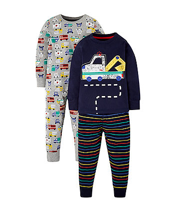 Mothercare Grey And Navy Construction Vehicle Pyjamas