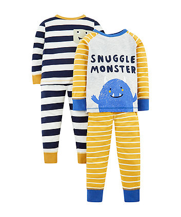 Mothercare Snuggle Monster Pyjamas - 2 Pack