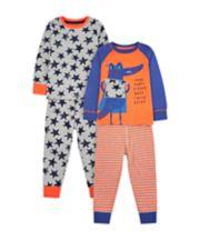 Mothercare Superhero Croc Pyjamas - 2 Pack