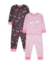 Mothercare Purple Rainbow And Star Pyjamas - 2 Pack