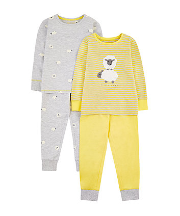 Mothercare Yellow And Grey Sheep Pyjamas - 2 Pack
