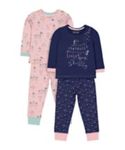 Mothercare Pink And Navy Princess Castle Pyjamas - 2 Pack
