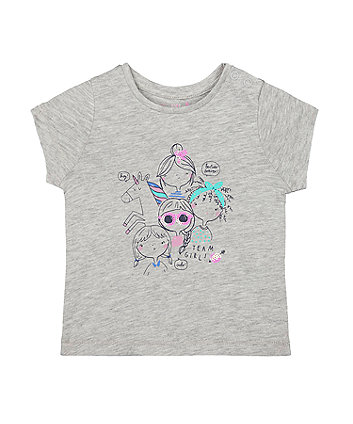Mothercare Grey Sequin Girls And Unicorn T-Shirt