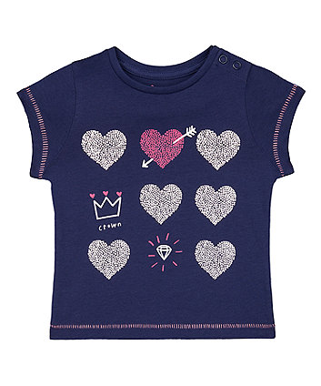 Mothercare Navy Hearts, Crown And Diamond T-Shirt