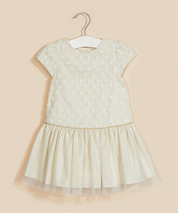 Mothercare Cream Floral Mesh Drop-Waist Dress