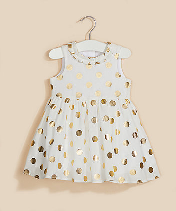 Mothercare White Gold-Foil Spot Dress