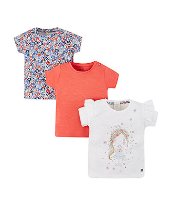 Mothercare Girl, Ditsy Floral And Coral T-Shirts - 3 Pack