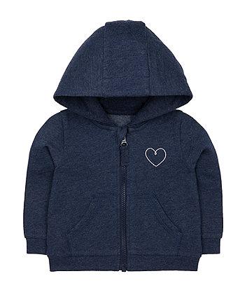 Mothercare Navy Silver Heart Zip-Through Hoodie