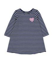 Mothercare Navy Stripe Sequin Heart Dress