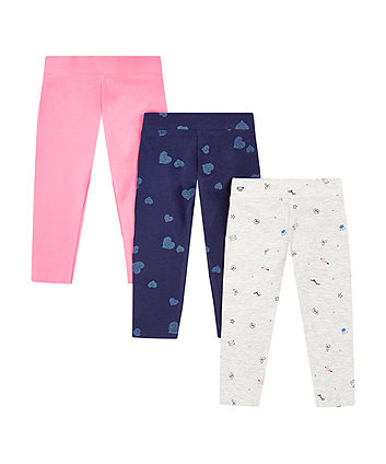 Mothercare Blue Heart, Pink And Grey Crown Leggings - 3 Pack