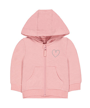 Mothercare Light Pink Silver Heart Zip-Through Hoodie