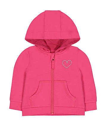 Mothercare Hot Pink Silver Heart Zip-Through Hoodie