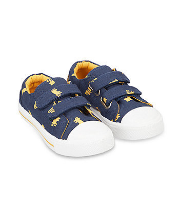 Mothercare Bear Print Canvas Shoes - Blue/Yellow