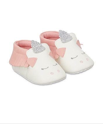 Mothercare Party Horse Moccasin Shoes - White/Pink