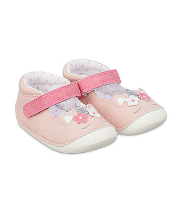Mothercare Pink Sparkly Unicorn Crawler Shoes