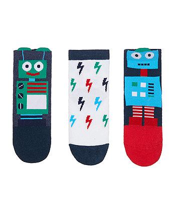 Mothercare Robot Novelty Socks - 3 Pack