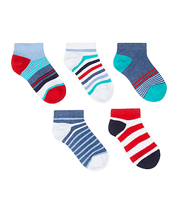 Mothercare Striped Trainer Socks - 5 Pack