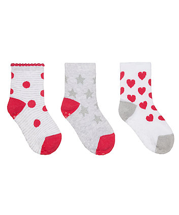 Mothercare Heart And Star Socks With Slip-Resist Soles  - 3 Pack