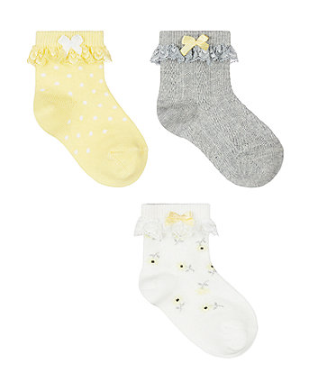 Mothercare Daisy Lace Baby Socks - 3 Pack