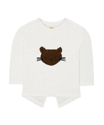 Sequin Cat Face T-Shirt