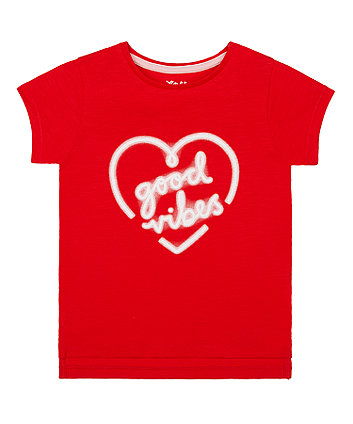 Mothercare Red Good Vibes Heart T-Shirt