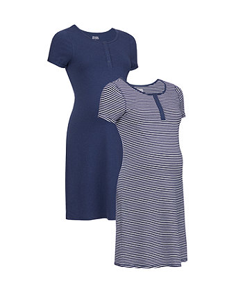Mothercare Navy Stripe And Marl Nursing Nightdresses - 2 Pack