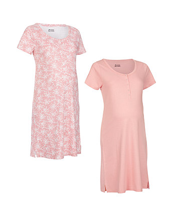 Mothercare Pink And Mocha Nursing Nightdresses - 2 Pack