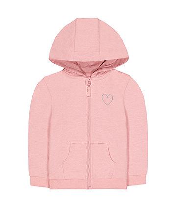 Mothercare Light Pink Silver Heart Zip-Through Hoodie