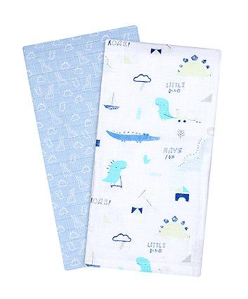 Mothercare Sleepysauraus Extra-Large Muslin Blankets - 2 Pack