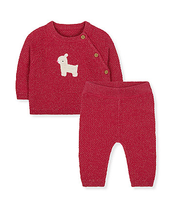 Mothercare Sparkly Red Deer Knitted Jumper And Joggers Set